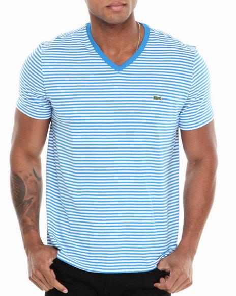 Lacoste - Men Blue S/S Heritage Stripe V-Neck Tee