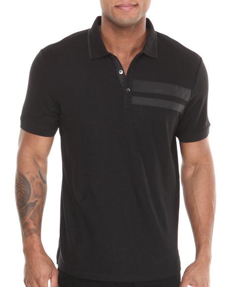Calvin Klein Black Short Sleeve Polo W/ Chest Panel Trim