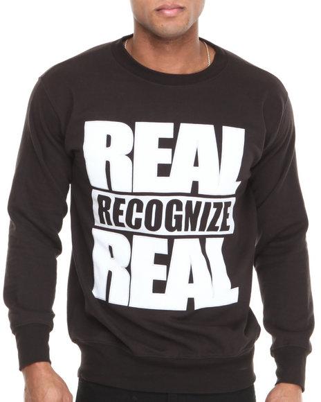 Basic Essentials - Men Black Real Recognize Real Pullover Crewneck Sweatshirt