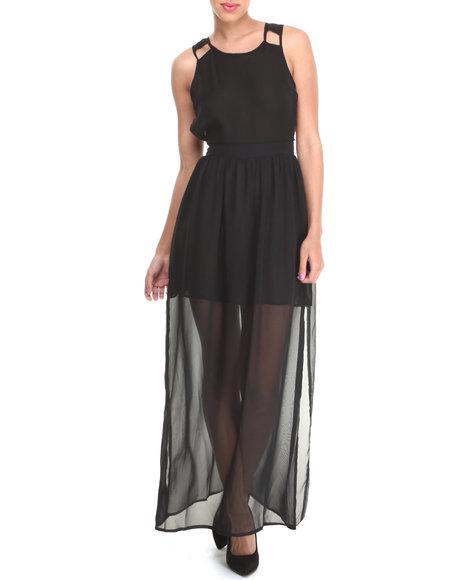Fashion Lab - Women Black Banded Maxi Dress W/ Cut-Out Open Back Detail