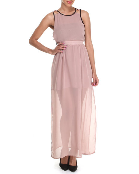 Fashion Lab - Women Light Pink Banded Maxi Dress W/ Cut-Out Open Back Detail