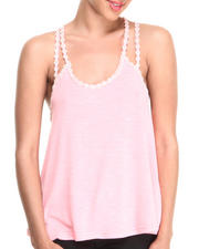 Women - Trapeze Double Strap Tank w/ Mini Daisy Detail on Straps