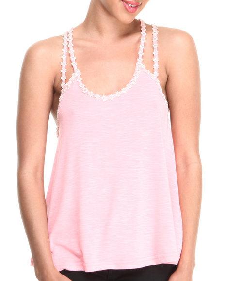 Fashion Lab - Women Pink Trapeze Double Strap Tank W/ Mini Daisy Detail On Straps