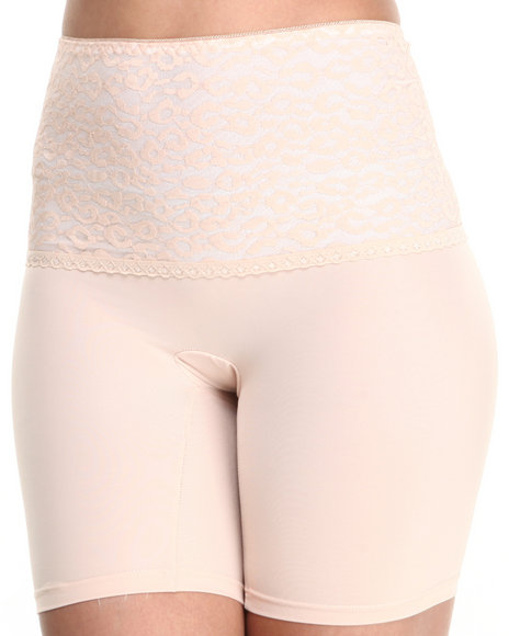 Drj Lingerie Shoppe - Women Beige Cheetah Stretch Lace Bike Shaper