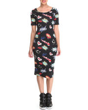 Almost Famous - Comic Print Illusion Back Midi Dress