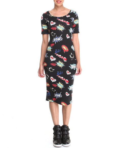 Almost Famous - Women Black Comic Print Illusion Back Midi Dress - $11.99