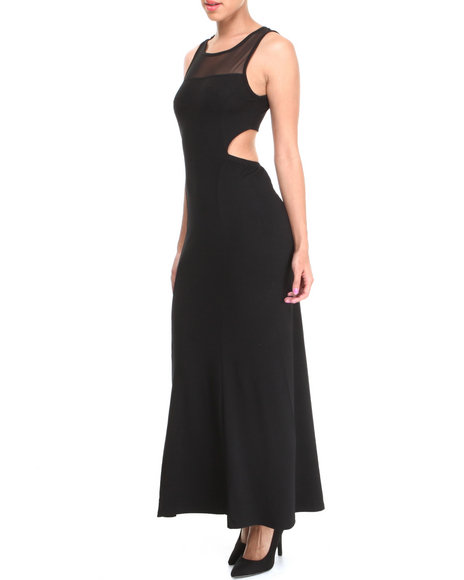 Almost Famous - Women Black Illusion Yoke Cut-Out  Back Maxi Dress - $23.99