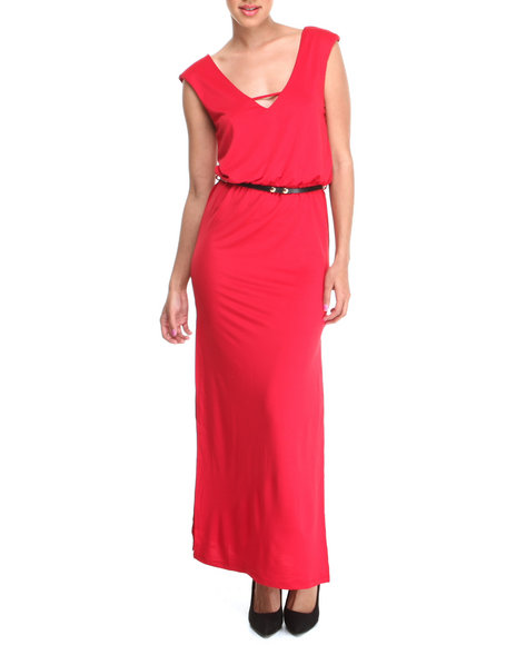 Almost Famous - Women Red Belted Slit Sides Maxi Dress