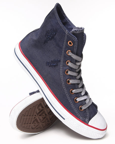Converse - Men Blue Destroyed Denim Chuck Taylor All Star Hi Sneakers