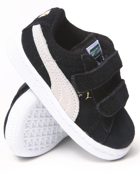 Puma Boys Black Suede 2 Strap Sneakers (5-10)