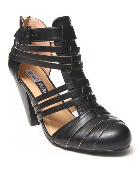 XOXO Black Pedro Vegan Leather Citi Gladiator Heel