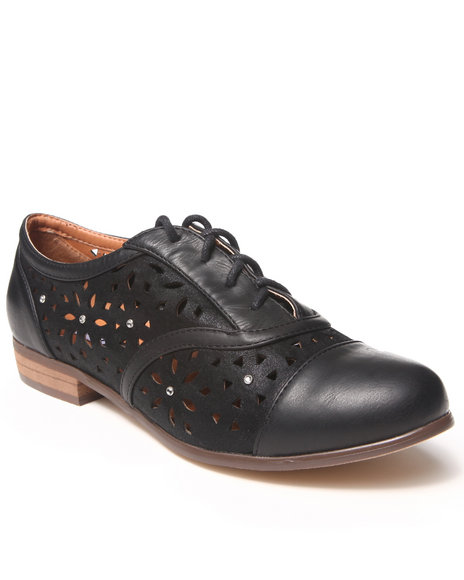 Xoxo - Women Black Holli's Cut-Out Oxford Shoe
