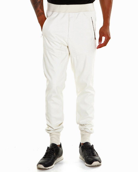 Winchester - Men Off White P U Cuffed Joggers