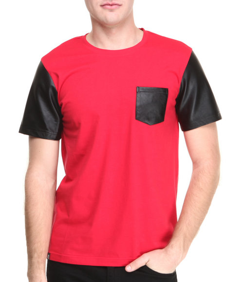 Akademiks Red Cooper Faux Leather Sleeve & Pocket S/S Tee