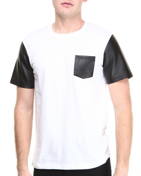 Akademiks - Men White Cooper Faux Leather Sleeve & Pocket S/S Tee