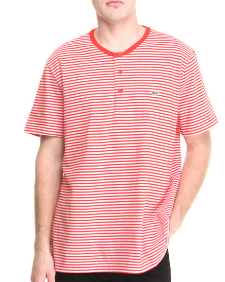 Lacoste Men S/S Heritage Stripe Henley Tee Red Xx-Large