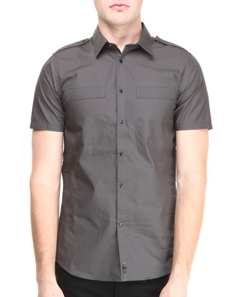 Calvin Klein - Men Grey Stretch Short Sleeve Two Pocket Button Down
