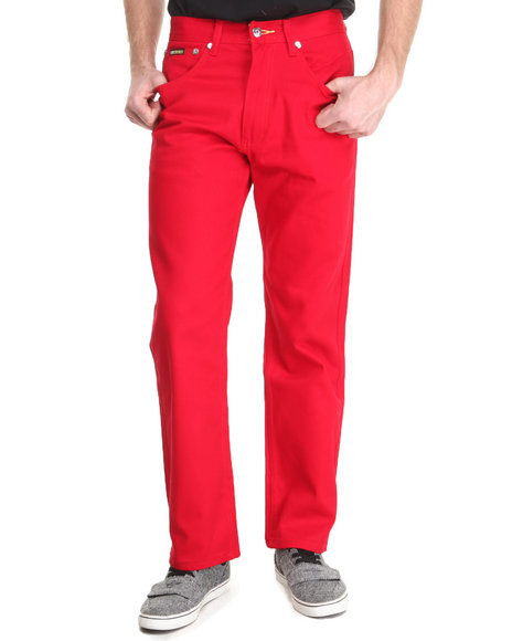 Akademiks - Men Red Signature Fanback Pocket Twill Pants