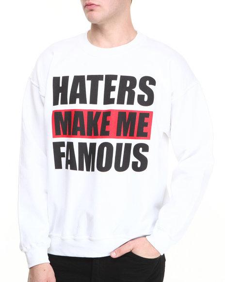 Buyers Picks - Men White Haters Make Me Famous Crewneck Sweatshirt