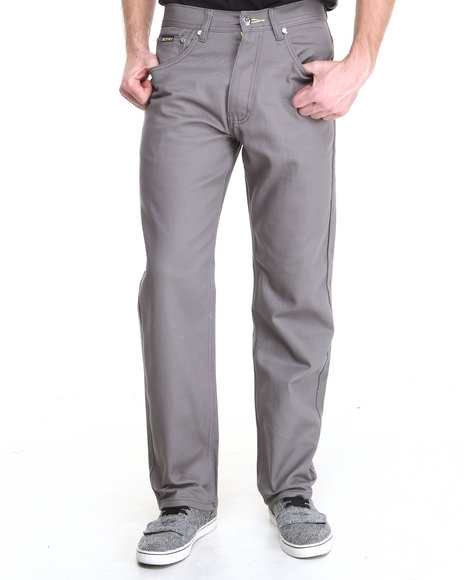 Akademiks - Men Grey Signature Fanback Pocket Twill Pants