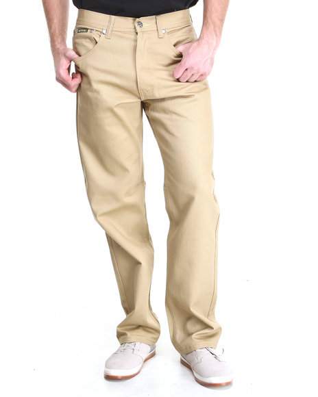 Akademiks - Men Khaki Signature Fanback Pocket Twill Pants