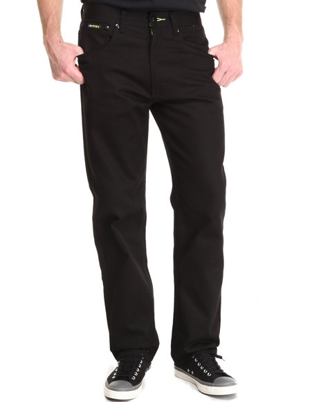 Akademiks - Men Black Signature Fanback Pocket Twill Pants