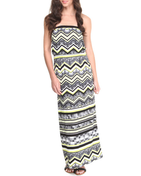 Paperdoll Black,Yellow Geometric Print Tube Maxi Dress