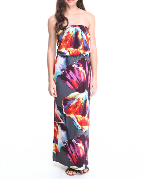 Paperdoll - Women Grey,Multi Watercolor Print Tube Maxi Dress