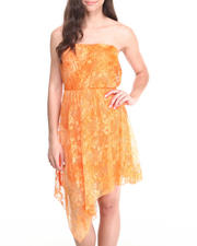 Women - Tie Dye Lace Chiffon Back Tube Dress