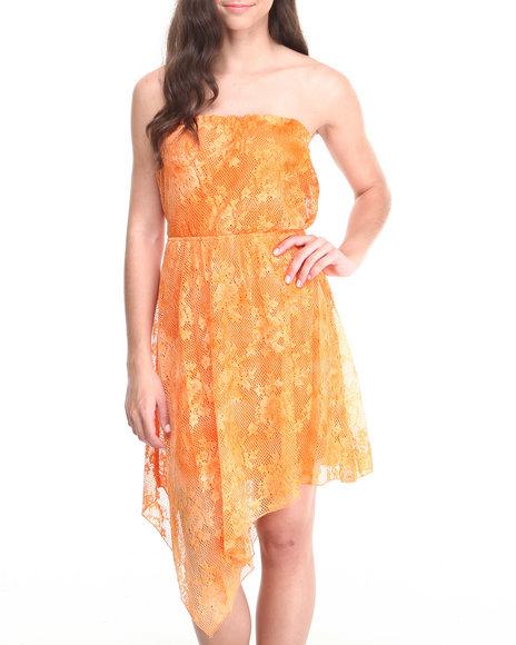 Paperdoll - Women Orange Tie Dye Lace Chiffon Back Tube Dress