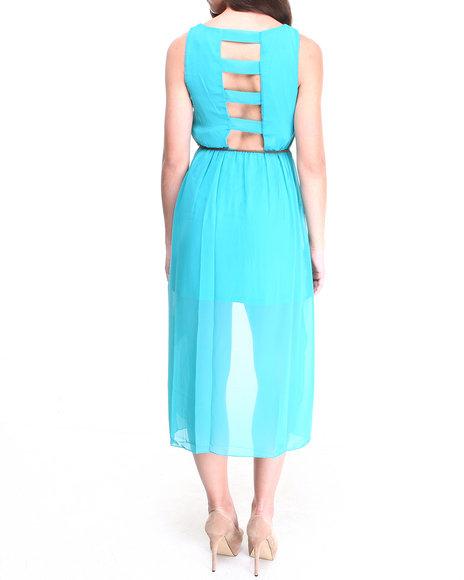 Paperdoll Teal Cut-Out Back Chiffon Hi-Low Hem Dress