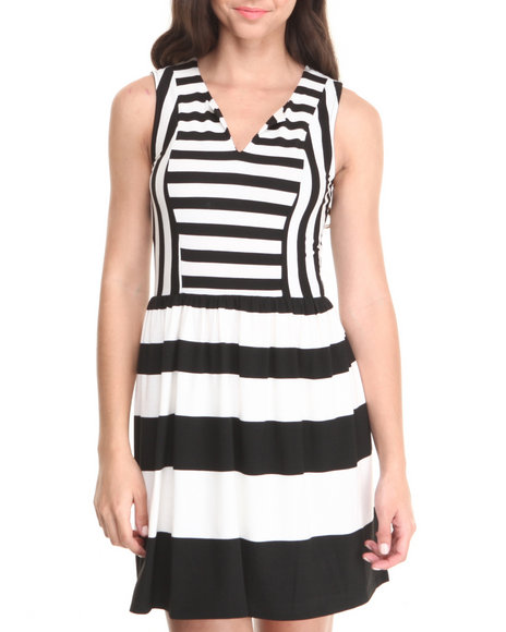 Paperdoll - Women Black,Ivory Mod Stripe Stretch Skater Dress - $14.99