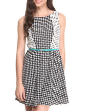 Women - Twin Geo Print Cut-out Back Belted Skater Dress