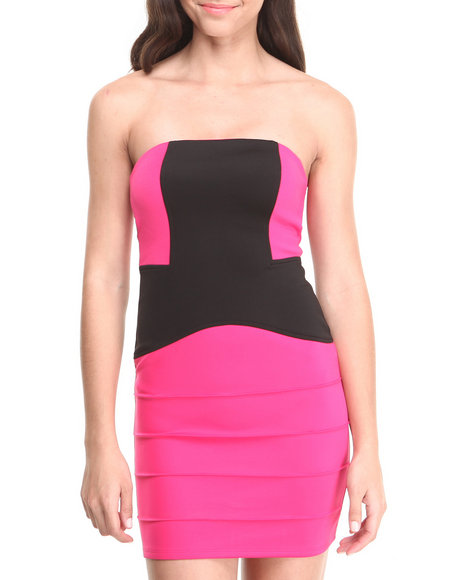 WishesWishesWishes Black,Pink Strapless Stretch Knit Colorblock Dress