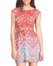 Dresses - Aztec Print Zip Back Belted Dress