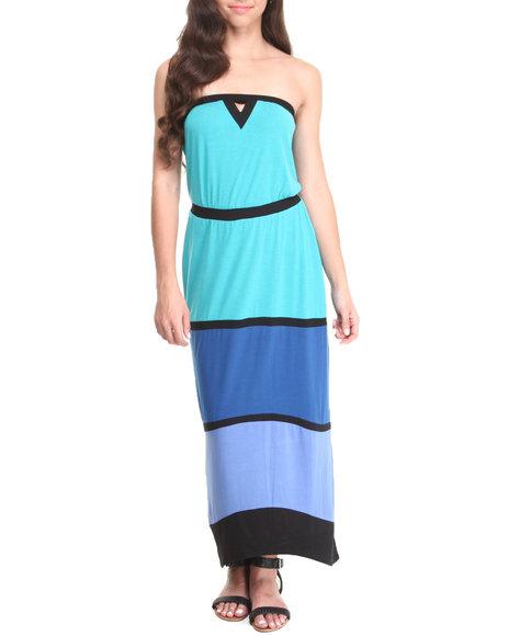 Paperdoll - Women Blue Mod Colorblock Tube Maxi Dress