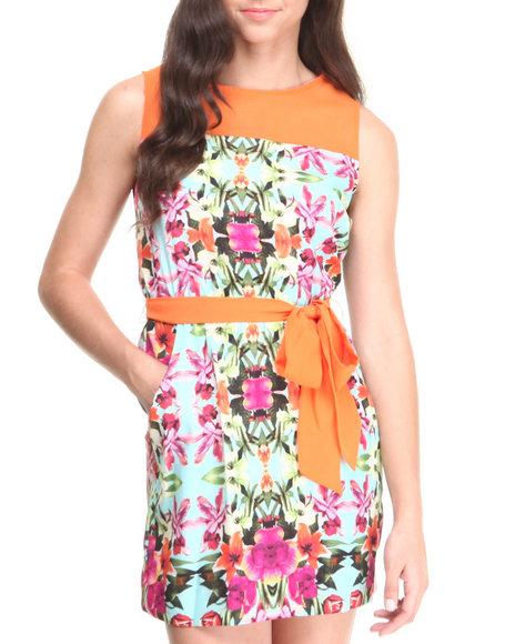 Paperdoll Blue,Orange Floral Print Sheer Yoke Dress