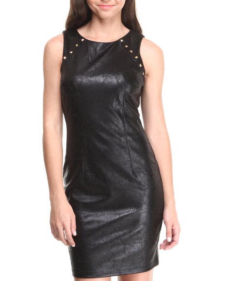 Paperdoll Black Vegan Leather Liquid Metal Spikes Trim Dress