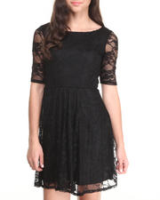 Women - Lace 3/4 Sleeve Skater Dress