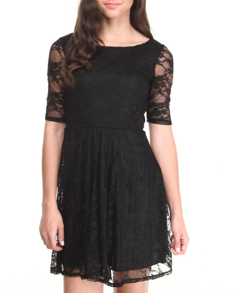 Paperdoll - Lace 3/4 Sleeve Skater Dress
