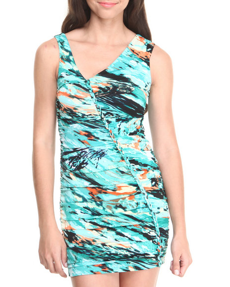 WishesWishesWishes - Sea Print Stretch Knit Asymmetrical Ruched Dress