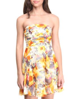 Paperdoll - Ruched Strapless Floral Chiffon Skater Dress