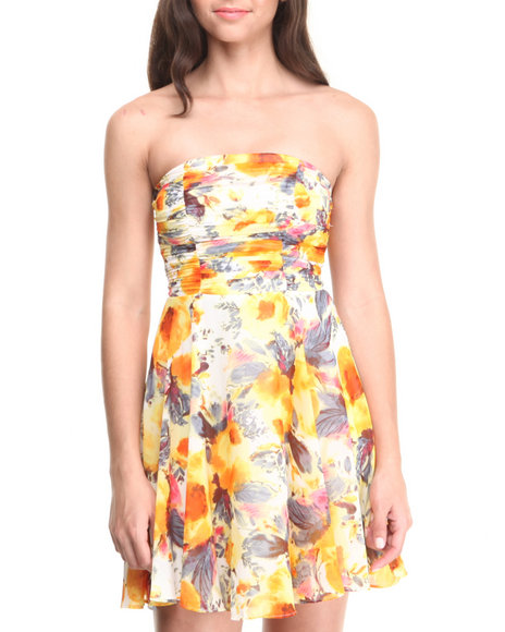 Paperdoll - Women Ivory,Yellow Ruched Strapless Floral Chiffon Skater Dress