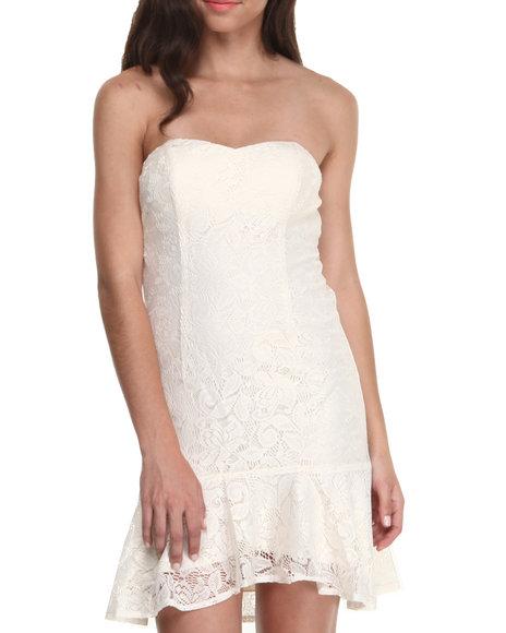WishesWishesWishes Off White Metallic Lace Strapless Hi-Low Hem Dress