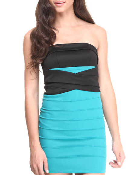 Wisheswisheswishes - Women Black,Teal Strapless Band Waist Stretch Knit Colorblock Dress