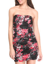 Women - Strapless Ruched Floral Print Dress