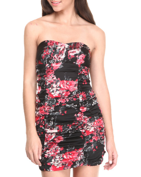 WishesWishesWishes - Strapless Ruched Floral Print Dress