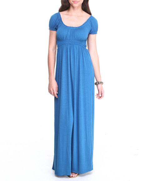 Paperdoll Blue Jersey Knit Peasant Maxi Dress