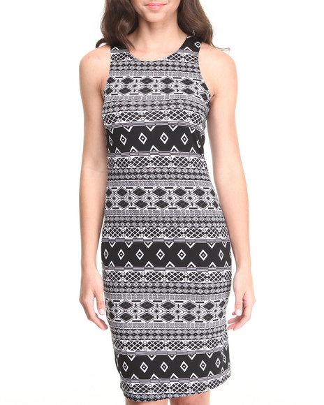 Paperdoll - Women Black,White Tribal Print Jersey Knit Sheath
