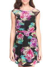 Dresses - Mesh Floral Print Belted Dress